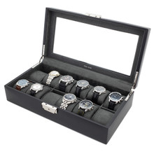 Large Black Leather Watch Case with Display Window | TechSwiss TS5850BLK | Side Open