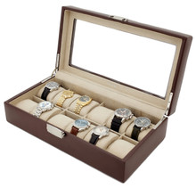 Leather Watch Case with Display Window | TechSwiss Watch Box | TS5850BRN | Main