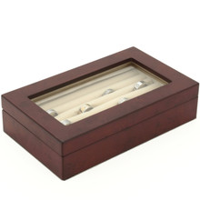 Burlwood Ring Box | Classic Ring Box | Traditional Ring Case | TechSwiss TSBXRGBUR | Closed