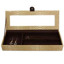 Crocodile Print Jewelry Box in Tan