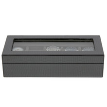 Front View 5 Watch Box Carbon Fiber Large Compartments TSBOX6100CF