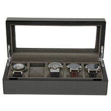 Open View 5 Watch Box Carbon Fiber Large Compartments TSBOX6100CF