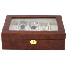 Burlwood Watch Display Case | Mens Watch Boxes | TechSwiss TSBOX10KEY-BUR | Front