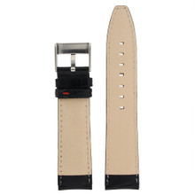Watch Band Black Leather Crocodile Grain Red Stitching