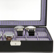 Black Leather and Purple Pinstripe Mens Watch Display Case | TechSwiss Modern Watch Cases |  TechSwiss TS2870BLK | Lining