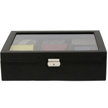 Black Leather Tie Organizer and Case | Mens Luxury Tie Organizers | TechSwiss TS6411BLK | Front