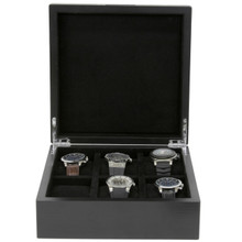 Engravable Black Wood Watch Box | TechSwiss | TSBOX6200BK | Front Open
