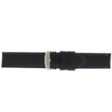 Leather Band Black Blue Stitching Buckle View LEA1573