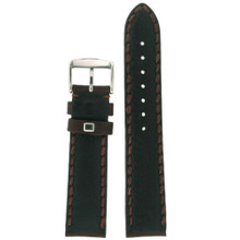Heavy Stitched Dark Brown Leather Padded Mens Watch Band