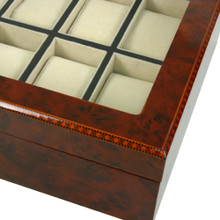 Burlwood Watch Box with Removable Tray - 12 Watches - Inlay view