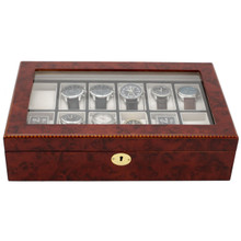 Burlwood Watch Box with Removable Tray - 12 Watches - Closed view