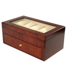 Matte Burlwood XXL Watch Box - Montego - TechSwiss - Closed View