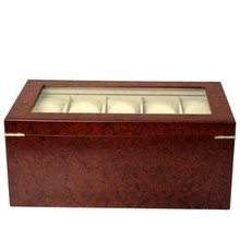 Matte Burlwood XXL Watch Box - Montego - TechSwiss - Front View