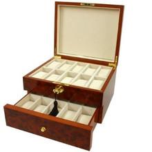 Burlwood watch Box with Tassel Key - BOXBUR20 - Open View