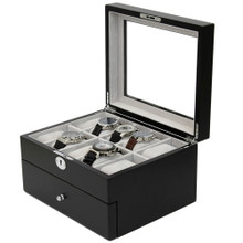 Black Wood Large Watch Box | Wood Watch Window Display Case | TechSwiss Mens Luxury Organizers | TechSwiss TSAA31-578 | Open