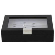 Black Wood Ring Box | Engravable Black Cufflink Case | Ring and Cufflink Storage Case | Ring and Cufflink Black Wood Box | TechSwiss | TSRB610ESSBK | Front