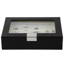 Modern Ring Box | Wood Ring Box | Mens Ring Organizer | TechSwiss TSRB620ESSBRN | Front
