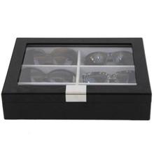 Sunglass Display Case | Wooden Eyeglass Box | Sunglass Storage | TechSwiss TSSG500ESSBK | Front