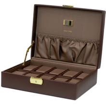 Brown Leather Watch Case with Pocket   TechSwiss Brown Leather Watch Case with Gold Clasp   TS4100BRN   Open