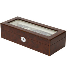 Burlwood Watch box for 6 Watches | TS6100BROWN | Side View