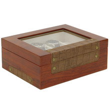 Teak Watch Box with Leather Trim | Stylish Mens Organizers & Accessories |  TechSwiss  TSBOX8200 | Main