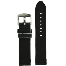 Long Black Leather Watch Band with White Topstitching | Durable Sport Long Leather Watch Straps  | TechSwiss LEA1366) | Lining