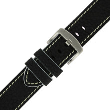 Long Black Leather Watch Band with White Topstitching | Durable Sport Long Leather Watch Straps  | TechSwiss LEA1366) | Stainless Steel Buckle