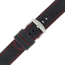 Long Black Leather Watch Band with Red Topstitching | Durable Sport Long Leather Watch Straps  | TechSwiss LEA1369) | Stainless Steel Buckle