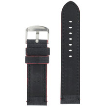 Long Black Leather Watch Band with Red Topstitching | Durable Sport Long Leather Watch Straps  | TechSwiss LEA1369) | Lining