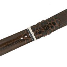 Dark Brown Crocodile Grain Leather Watch Band LEA1365
