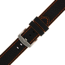 Long Black Leather Watch Band with Orange Topstitching | Durable Sport Long Leather Watch Straps  | TechSwiss LEA1368) | Buckle