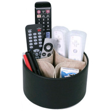 Rotating Remote Control Caddy | Living Room Organizers | Coffee Table Organizer Caddy with Removable Dividers | TechSwiss TS727BK | Main