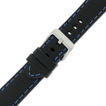 Thick Black Padded Watch Strap | TechSwiss TS581-22SS| Buckled