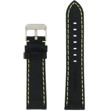 Black Padded Watch Strap | TechSwiss LEA582 | Front