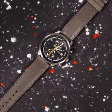 Grey Vintage Leather Watch Strap | Textured Grey Leather Watch Band | Distressed Gray Leather Watch Band | TechSwiss Grey Watch Strap | Sample 1