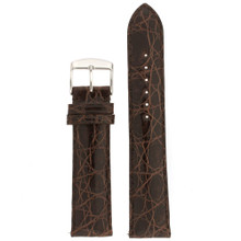 Genuine Crocodile Dark Brown Watch Band Padded Built-In Spring Bars