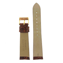 Genuine Crocodile Honey Brown Watch Band - Non-Padded Non-Stitched Vintage Flat
