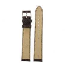 Long Crocodile Genuine Watch Band- Dark Brown Padded Stitched