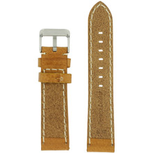 Watch Band Leather Tan Saddle Brown White Stitching Heavy Buckle
