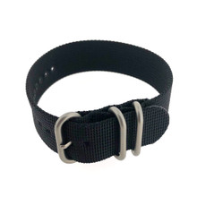 Watch Band Woven Nylon One Piece Military Style Sport Black - 20mm