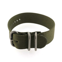 Watch Band Woven Nylon One Piece Sport Style Military Green- 22mm