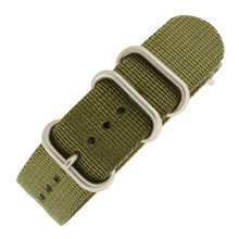 20mm Nylon Strap with Rounded Buckle One-Piece - Olive Green