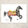 akhal-teke carousel horse watercolor art blank note cards