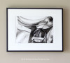 Black and White Watercolor Horse Saddle Painting - Framed/Matted