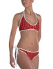 Red White Blue Striped Horse Bits Equestrian Swim Suit