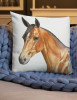 Bay Horse Head Art Equestrian Throw Pillow