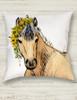 Whimsical Buckskin Pony Art Equestrian Throw Pillow