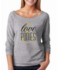 Love and Ponies Equestrian 3/4 Sleeve Women's Raglan Tee