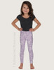 Lilac Country Floral Horse Pattern Equestrian Kids Leggings