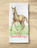 Hello Spring Horse Foal Farmhouse Style Tea Towel